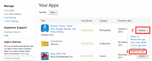 Delete apps from Amazon App store
