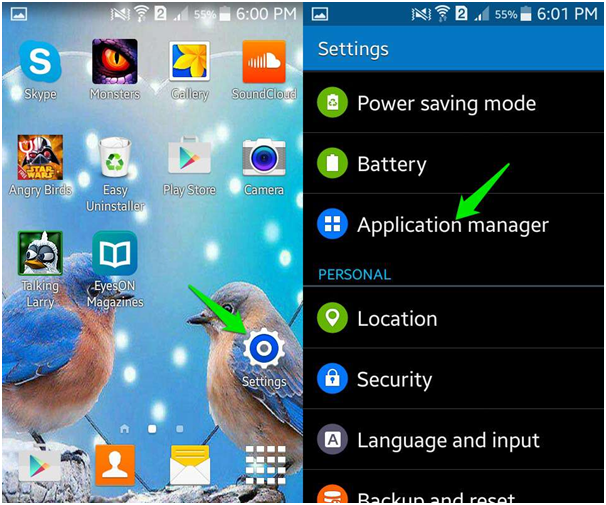 Delete old game apps from Android with your settings