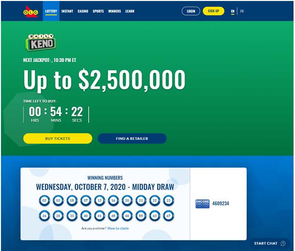 Find keno results online