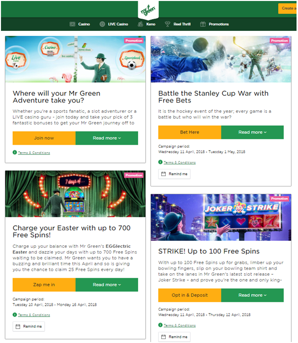 Mr Green Casino- Promotions