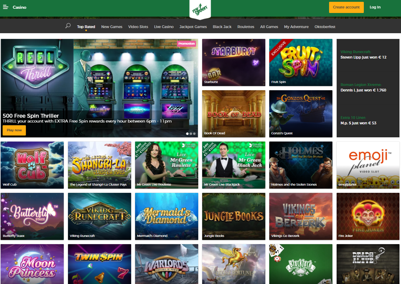 Games to enjoy in CAD at Mr Green Casino