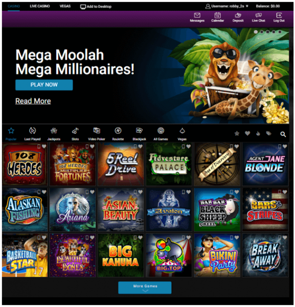 Variety of games at Canadian online casino