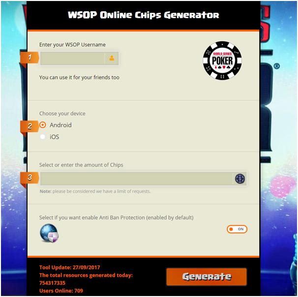 WSOP online chips